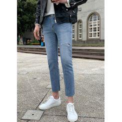JOGUNSHOP - Distressed Cropped Slim-Fit Jeans