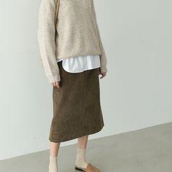 PPGIRL - Drawstring Corduroy Long Skirt