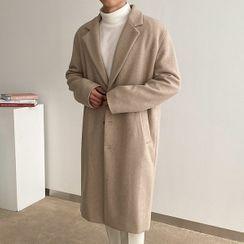 Seoul Homme - Single-Breasted Wool Blend Coat