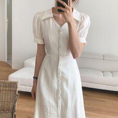 Timfield - Short-Sleeve Button Midi A-Line Dress