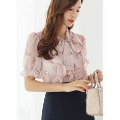 Styleonme - Tie-Neck Ruffled Floral Chiffon Blouse