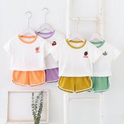 Dolphin Dream - Set: Fruit Embroidered Short-Sleeve T-Shirt + Shorts