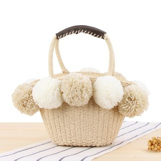 STYLE CICI - Fleece Ball Straw Basket Hand Bag