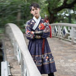 Pinocle - Long-Sleeve Printed Traditional Chinese Costume / Set