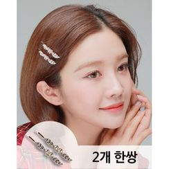 Miss21 Korea - Rhinestone Butterfly Hair Pin (2 PCS)