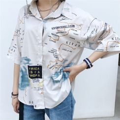 Whoosh - Elbow-Sleeve All-Over Print Open-Collar Shirt