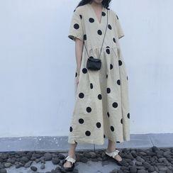Epoch - 圓點短袖直身連衣中裙