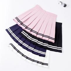 Bloomflo - Striped Pleated Mini Skirt