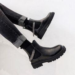 VEAZ - Chain Strap Platform Short Chelsea Boots