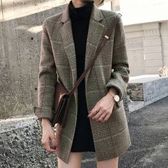 JOWI - Open-Front Plaid Blazer