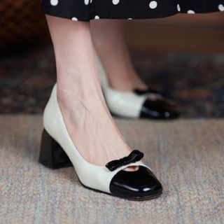 Megan - Two-Tone Genuine Leather Block Heel Pumps