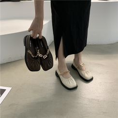 ELFISH - Chain Strap Faux Leather Mary Jane Shoes