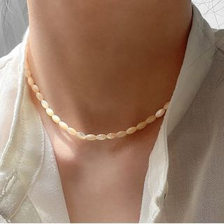 Foreflow - Alloy Embossed Pendant Faux Pearl Layered Choker Necklace