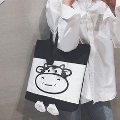 Cat Palace - Milk Cow Print Canvas Shopper Bag