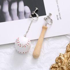 Noverkski(ノバークスキ) - Asymmetrical Baseball Drop Earring