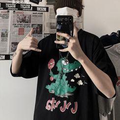 Lazi Boi - Elbow-Sleeve Print T-Shirt