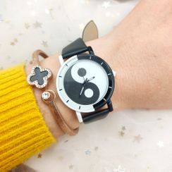Tazzy - Faux Leather Print Strap Watch