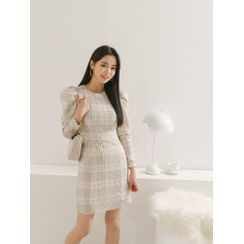 PPGIRL - Puff-Sleeve Button-Up Mini Tweed Dress