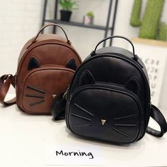 Shimme(シンメ) - Faux Leather Cat Accent Mini Backpack