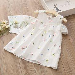 Seashells Kids - Kids Dragonfly Embroidered Cold-Shoulder Dress