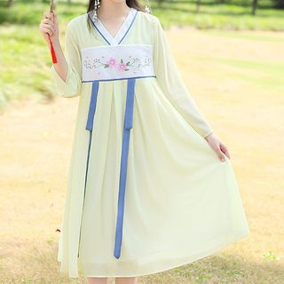YICON - Long-Sleeve Midi Hanfu Dress