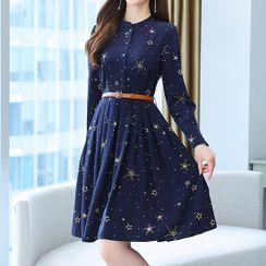Klevy - Star Print Midi A-Line Dress