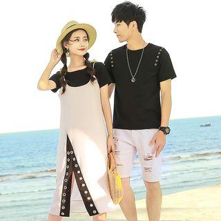 NoonSun - Couple Matching Crew-Neck Short-Sleeve T-Shirt / Ring Detail Midi Spaghetti Strap Dress / Set