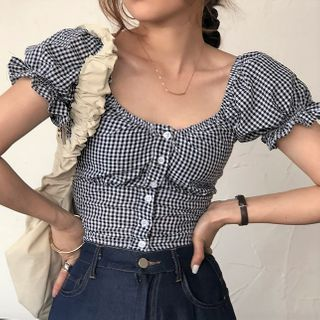 ROSEMARY - Plaid Puff-Sleeve Cropped Blouse