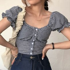 ROSEMARY - 格子泡泡袖短款衬衫