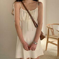 FROMBEGINNING - Satin Mini Bustier Dress