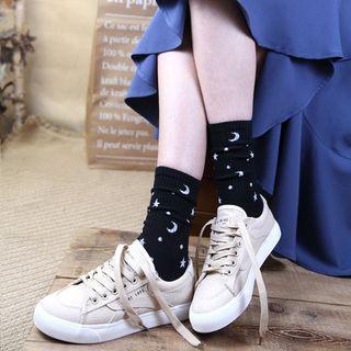 Spider Lily - 星星及月亮印花袜子 / 字母袜子