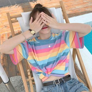 CosmoCorner - Color-Block Striped Short-Sleeve T-Shirt