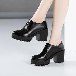 Hannah - 厚底粗跟系带鞋