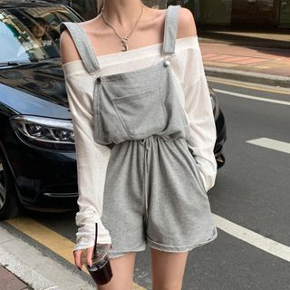 ever after(エバーアフター) - Long-Sleeve Boatneck Top / Drawcord-Waist Romper
