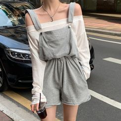 ever after - Long-Sleeve Boatneck Top / Drawcord-Waist Romper