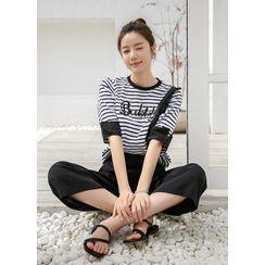 Styleonme(スタイルオンミー) - Letter Beaded Frilled Stripe T-Shirt