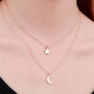 Alycia - Alloy Moon & Star Pendant Layered Necklace