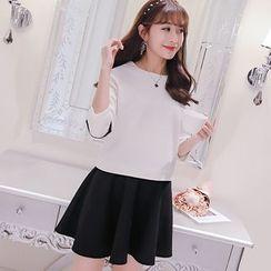 Bornite - Set: 3/4-Sleeve Contrast Trim T-Shirt + Mini A-Line Skirt