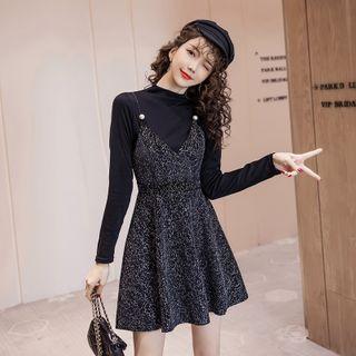 Melina - Set: Long-Sleeve Mock-Nock T-Shirt + Tweed Mini A-Line Pinafore Dress