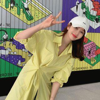 YANSAE - Pocket-Front Vivid-Color Shirtdress