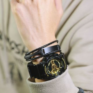 Tenri(テンリ) - Stainless Steel Bar Layered Woven Leather Bracelet