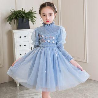 Cuckoo - Kids Flower Applique Knit Long-Sleeve A-Line Mesh Dress