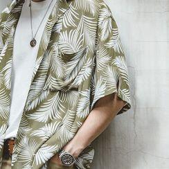 Maden - Pocket-Front Leaf Print Short-Sleeve Tee