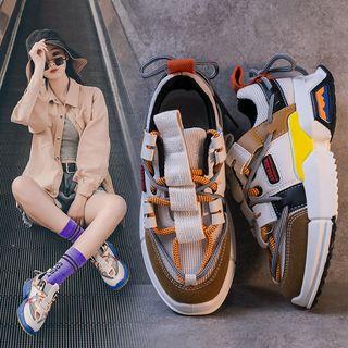 MARTUCCI - Paneled Lace-Up Back Platform Sneakers