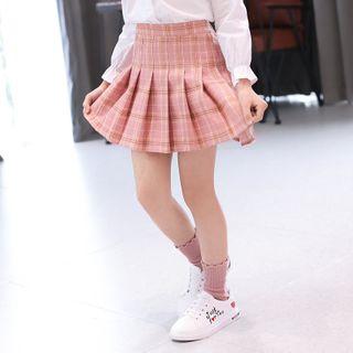 Cuckoo - Kids Plaid Pleated Skirt