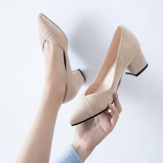 JY Shoes - Pointy-Toe Chunky-Heel Pumps