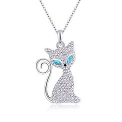 BELEC - Cute Cat Pendant with Blue and White Austrian Element Crystal and Necklace