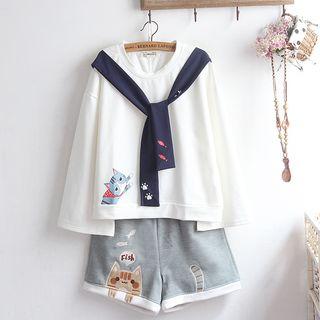 akigogo - 长袖小猫印花T裇 / 小猫刺绣短裤 / 套装