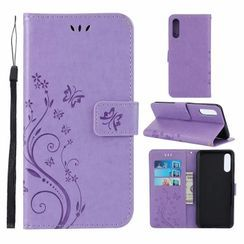 Quivier - 蝴蝶印花手機保護套連卡套 - Samsung A50 / A70 / 50S / A30S