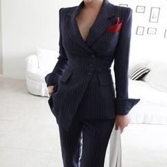 Cassidy - 套装: 细条纹不对称西装外套 + 西裤